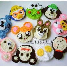 Sake-Knit amigurumi toys: Crochet Coin purse and Phone Cases Construction Scheme Crochet Disney, Kawaii Crochet, Crochet Bear, Crochet Animals, Crochet Motif, Crochet Dolls, Easy Crochet, Crochet Patterns, Crochet Teddy