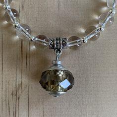 Recycled Smokey Quartz Glass Bead & Clear Quartz Bracelet