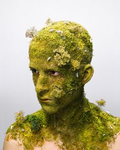 """Dutch artist Levi van Veluw uses his own head as a canvas, as he did in his 2008 series """"Landscapes"""", pictured above. He doesn't accept help, but decorates his head completely by himself."""