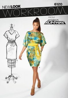 Dress |  New Look Workroom from Project Runway, Misses' dress with kimono sleeves, neckline variations and belt. | Simplicity : 6120