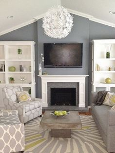Living room in gray, white, and yellow. Great gray for wall color and patterns abound.