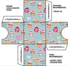 Convite Caixa Tampa Cupcakes: Cupcake Template, Box Template Printable, Printable Paper, Templates, Box Patterns, Barbie Patterns, Paper Toys, Paper Crafts, Paper Doll House