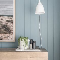 A nice close up of EasyVJ panelling with cool homewares and a great colour Small Cottage Interiors, Bedroom Wall, Bedroom Decor, Master Bedroom, Feature Wall Design, Hamptons House, Guest Bedrooms, Fashion Room, Inspired Homes