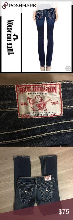 "True Religion Disco Billy Big T Swarovski Jeans Perfect, basically new - worn once for like a few hours. Size 25 - true religion disco billy big t jeans with Swarovski crystals! Waist 13.5"" inseam 29"" True Religion Jeans"