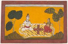 Shiva and Parvati Playing Chaupar: Folio from a Rasamanjari Series