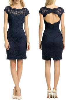 Winter Bridesmaid Gown - love the color and the style!   Lace Pencil Dress by MONIQUE LHUILLIER