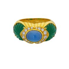 Cartier Chrysoprase Diamond Gold Ring | From a unique collection of vintage cocktail rings at https://www.1stdibs.com/jewelry/rings/cocktail-rings/