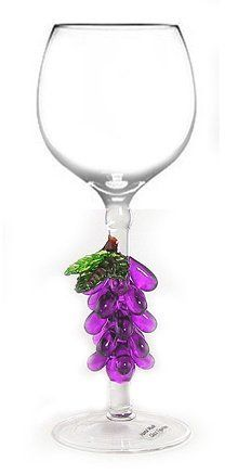 Hand Blown Purple Grapes Art Wine Glass by Yurana Designs ** You can find out more details at the link of the image. Types Of Wine Glasses, Coffee Wine, Wine Guide, Crystal Glassware, Wine Decor, Wine Cabinets, Wine Stoppers, Champagne Flutes, Glass Art