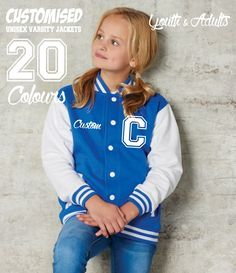 girls blue sweatshirt varsity jacket customising  <