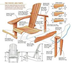DIY Adirondack Chair - Outdoor Furniture Plans and Projects - Woodwork, Woodworking, Woodworking Plans, Woodworking Projects Woodworking Projects Diy, Woodworking Videos, Woodworking Furniture, Teds Woodworking, Wood Projects, Furniture Plans, Wood Furniture, Woodworking Patterns, Woodworking Workshop
