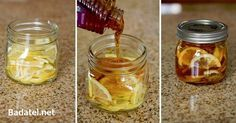 """Winter sore throat """"tea""""- In a jar combine lemon slices, organic honey and sliced ginger. Close jar and put it in the fridge, it will form into a """"jelly"""". To serve- spoon jelly into mug and pour boiling water over it. Store in fridge months. Home remedies Herbal Remedies, Health Remedies, Home Remedies, Natural Remedies, Flu Remedies, Anxiety Remedies, Natural Treatments, Sore Throat Tea, Fat Burning"""