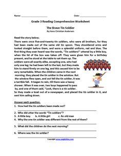 Brave Tin Soldier Third Grade Reading Worksheets