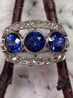 Sapphire Diamond Platinum Art Deco Ring on Etsy,