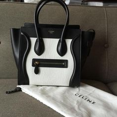 Celine Micro Luggage Tote in Black White Bullhide Calfskin New Celine Nano Bag, Chanel Bag Black, Celine Micro Luggage, White Handbag, Cloth Bags, Birkin, Louis Vuitton, Handbags, Black And White