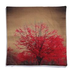 Piccocasa Red Flower Pattern Waist Throw Cushion Cover Pillow Case 45 x 45cm