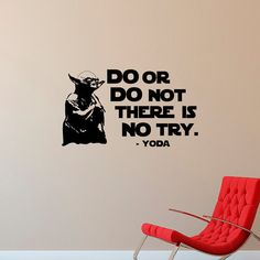 Yoda Wall Decal Quote Do Or Do Not There Is No by FabWallDecals