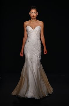 Sweetheart Fit and Flare Wedding Dress  with Natural Waist in Silk Crepe. Bridal Gown Style Number:33262239