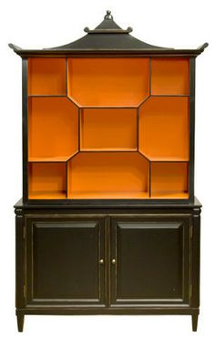 Smith & Watson  Black Pagoda Cabinet  Price: $5,980.00 | VisitStore»  Uploaded by Gabrielle Savoie  This stunning black pagoda cabinet is boasting the Hermès colors. Need I say more? The shape is exquisite. It's definitely a statement piece.