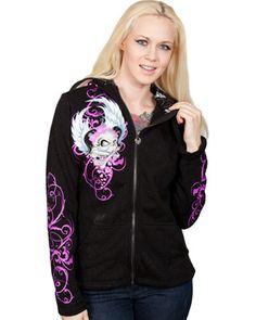 Womens Lethal Threat Girl Skull Angel Biker Hoody Hoodie S M L XL 2XL Motorcycle Clothing $58.95