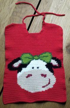 Essmantel Kuh Elsa, häkeln, hübscher Baby Latz mit Kuh // Crochet pattern, pretty baby bib with cow