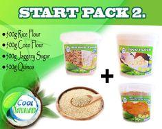 STARTPACK =  Kokosmehl. Reismehl, Jaggery Zucker, Quinoa Weiss 4 x 500g