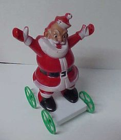 LARGE Old Santa Claus On Wheels Christmas Candy Container | eBay