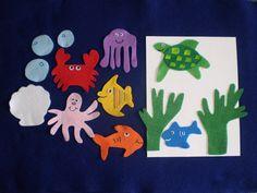 Clumsy Crab Ocean Flannel Board Felt Story Set by feltresources,