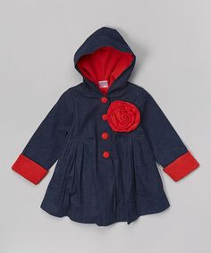 Another great find on #zulily! Denim & Red Floral Hooded Swing Coat - Toddler & Girls #zulilyfinds
