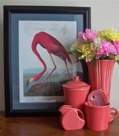 John James Audubon's 'American Flamingo' meets Homer Laughlin China Co's Fiesta 'Flamingo'.