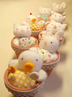 creative    duckling, bunny, kitten, pig, chicken,etc. in small pot pincushions