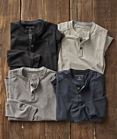 Men's Long-Sleeve Edge Henley in French Terry Mens Attire, Mens Clothing Styles, Men's Clothing, Trendy Outfits, Men's Outfits, Types Of Fashion Styles, French Terry, Men Casual, Casual Wear