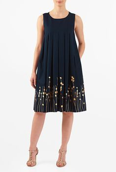 I <3 this Floral embellished cotton poplin trapeze dress from eShakti
