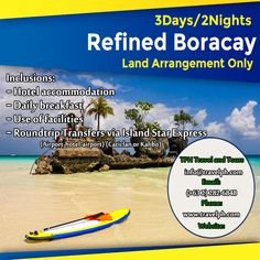 3 DAYS REFINED BORACAY Minimum of 2 persons  For more inquiries please call: Landline: (+63 2) 8 282-6848 Mobile: (+63) 918-238-9506 or Email us: info@travelph.com #Boracay #Philippines #TravelPH #TravelWithNoWorries Boracay Philippines, Airport Hotel, Day, Travel, Viajes, Destinations, Traveling, Trips