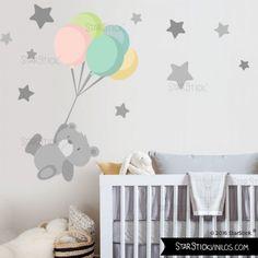 Tierno osito con Globo - Vinilos infantiles ideales para decoración de bebés