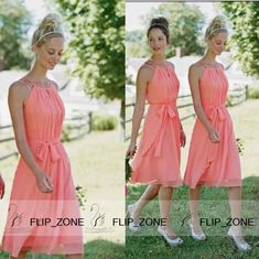 Short Coral A-Line Bridesmaid Dresses with Halter Chiffon Knee-Length Cheap 2015 Jim Hjelm Beach Wedding Maid of Honor Girls Gowns Simple, $64.7 | DHgate.com