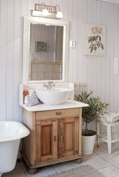 A vessel sink that manages to look vintage