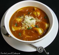 Roasted Tomato and Basil Soup with Pesto Tortelloni