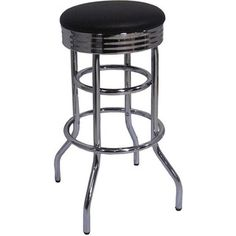 @Overstock - Set includes: Two (2) bar stools Materials: Steel, plastic, screws Finish: Chrome Upholstery materials: Faux leatherUpholstery color: Black http://www.overstock.com/Home-Garden/Trinity-Chrome-Swivel-Bar-Stools-Set-of-2/6194135/product.html?CID=214117 $124.99