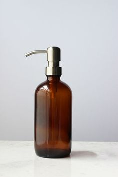 Farmhouse Amber Glass Soap Dispenser Stainless by Rail19 on Etsy