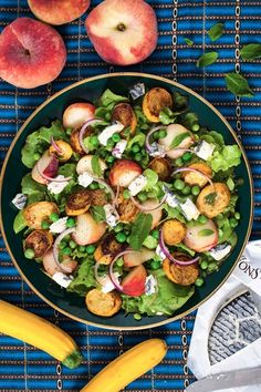 Hemsley & Hemsley: Peach, Pea & Goats' Cheese Salad (Vogue.com UK)  Courgette is like a zuchini