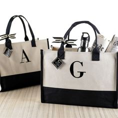 Initial Canvas Tote - Natural and black canvas tote features black embroidered initial. A classic bag perfectly suited for the mall, office, beach, boating and all your everyday travels. Monogram Tote Bags, Personalized Tote Bags, Canvas Tote Bags, Canvas Totes, Initial Canvas, White Tote Bag, Sack Bag, Jute Bags, Tote Handbags
