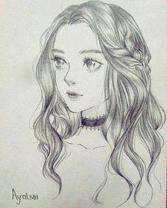 Pin by juliana on drawings /anime in 2019 ζωγραφική, τέχνη. Girly Drawings, Face Sketch, Anime Drawings Sketches, Pencil Art Drawings, Anime Sketch, Sketches Of Girls Faces, Hair Art, Art Sketchbook, Manga Art