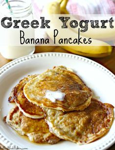 An easy and healthy breakfast, these Greek Yogurt Banana Pancakes provide a delicious protein-packed start to your day.