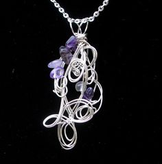 Pendant Necklace Silver & Amethyst Womens by thedreamersgallery
