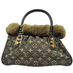 auth louis vuitton trapeze pm monogram denim chinchilla leather hand bag 58762defd6f91
