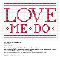 Love me do cross stitch pattern - free!