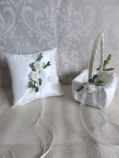 This handmade wedding ring pillow and flower girl basket is perfect for a Victorian garden wedding! It is made of a beautiful ivory taffeta