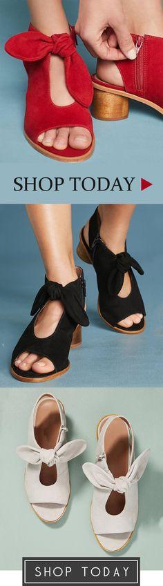14af7f56ed4 Bow Peep Toe Heels Zipper Chunky Heel Sandals