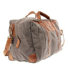 LECONI kleine Reisetasche Weekender Handgepäck Damen Herren Leder Canvas grau LE2009
