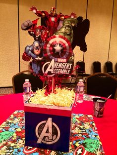 It's time for the Avengers to assemble at your child's birthday party. Get Iron Man, Hulk, Thor, Captain America and more to save your party from lackluster blues. Birthday Party Centerpieces, Birthday Party Tables, 6th Birthday Parties, Avenger Party, Hulk Party, Avengers Birthday, Superhero Birthday Party, Avengers Party Decorations, Die Rächer